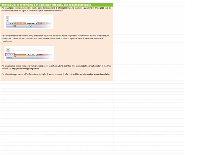 Project 2010: cartella di lavoro di riferimento con le corrispondenze tra menu e barra multifunzione