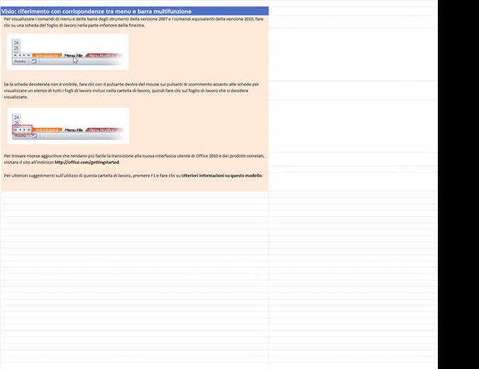 Visio 2010: cartella di lavoro di riferimento con le corrispondenze tra menu e barra multifunzione