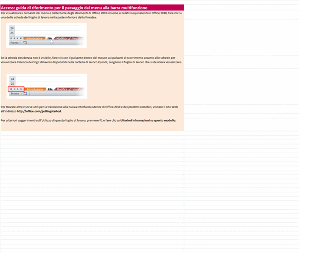 Access 2010: cartella di lavoro di riferimento con le corrispondenze tra menu e barra multifunzione