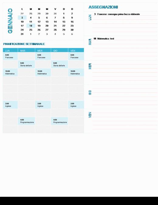Calendario settimanale per gli studenti (qualsiasi anno, lun-dom)