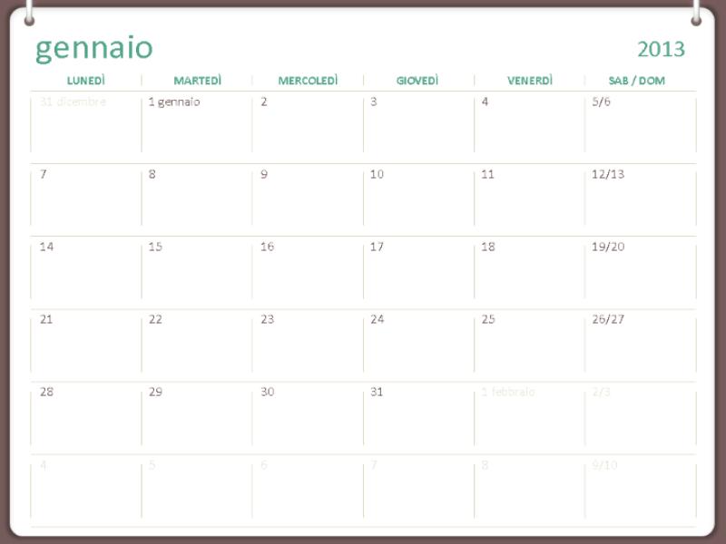 Calendario 2013 a 2 anelli (lun-dom)