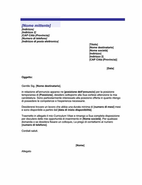 Lettera di accompagnamento per posizione temporanea (tema Linea blu)