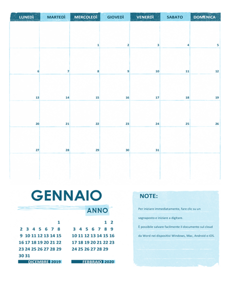 Calendario accademico (un mese, qualsiasi anno, dal lunedì)