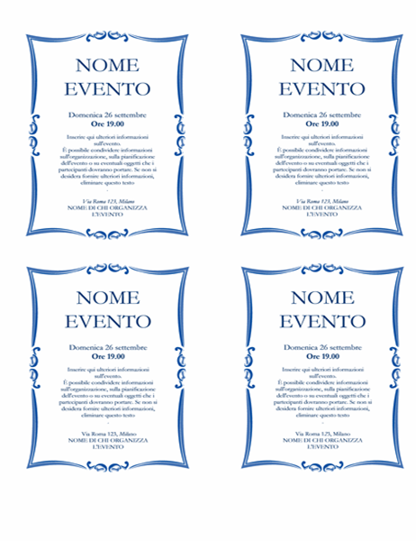 Volantino evento (4 riquadri)