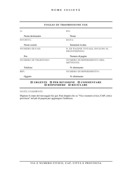 Frontespizio fax (elegante)