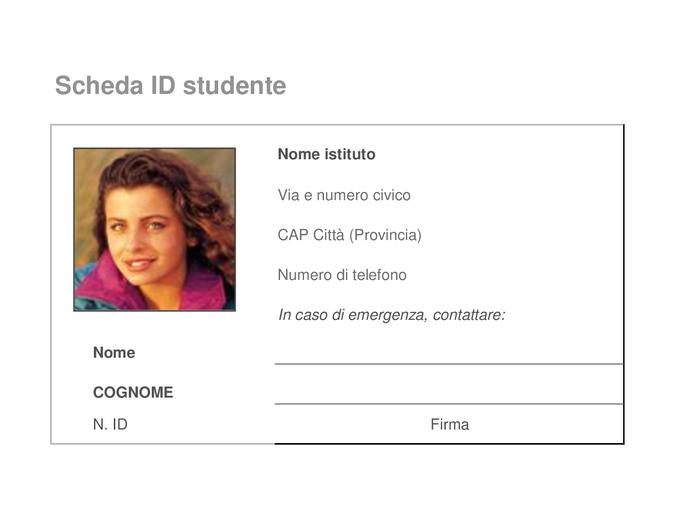 Scheda di identificazione degli studenti