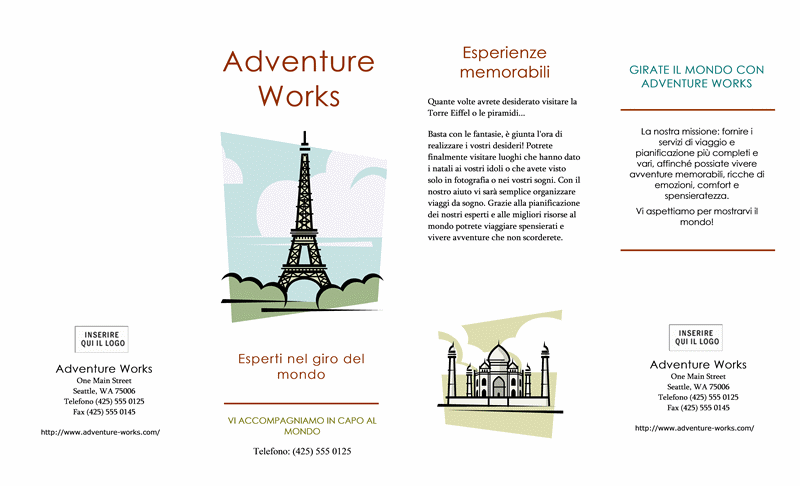 Brochure viaggio (21,6 x 35,6 cm, orizzontale, pieghevole a quattro ante)