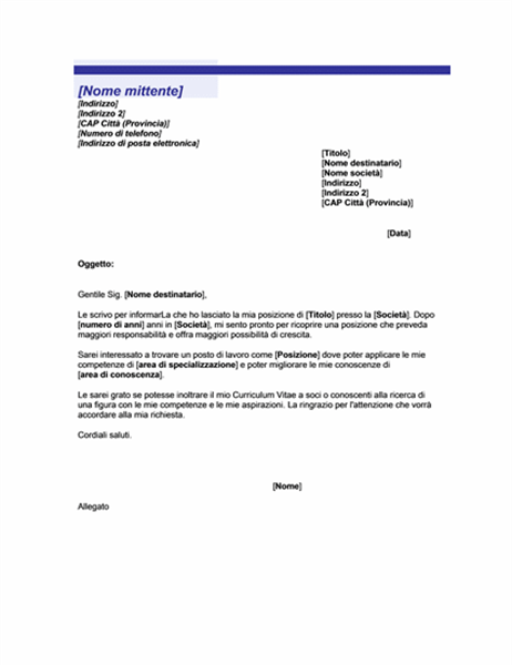 Lettera di comunicazione di ricerca di lavoro (tema Linea blu)