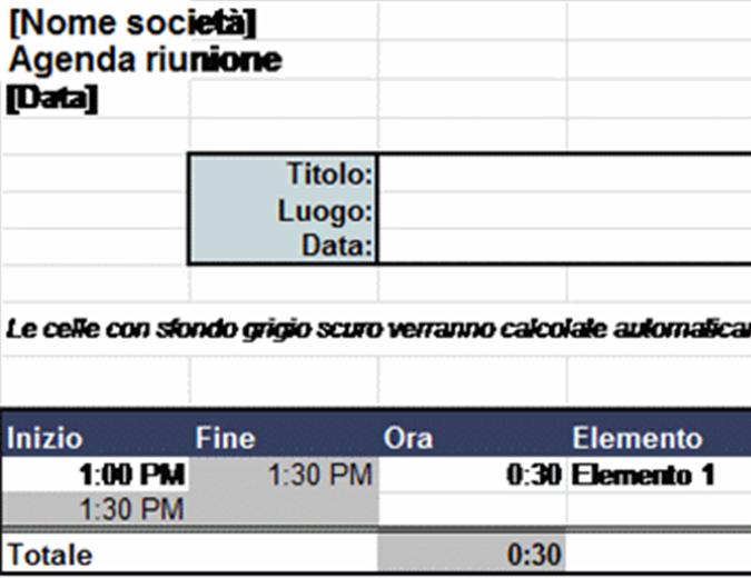 Agenda riunione automatica