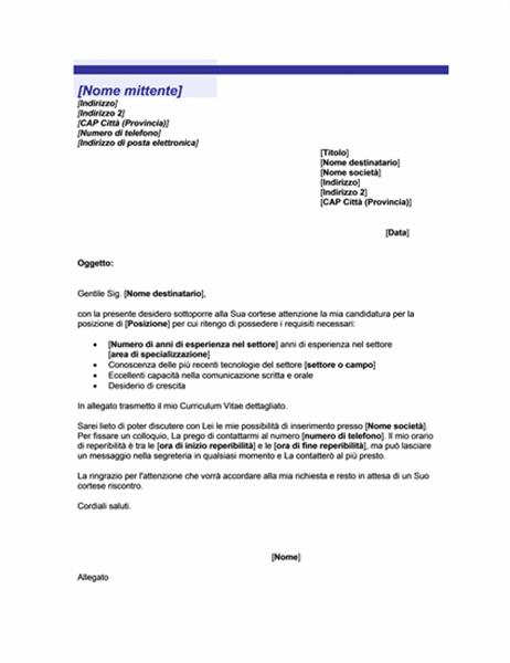 Lettera di accompagnamento per invio spontaneo di Curriculum Vitae (tema Linea blu)
