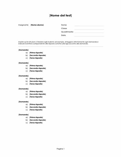 Test a scelta multipla (3 risposte)