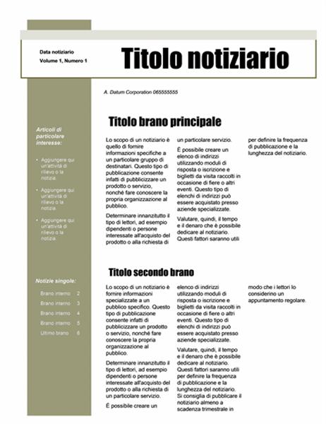 Notiziario (tema semplice, 4 colonne, 6 pagine)