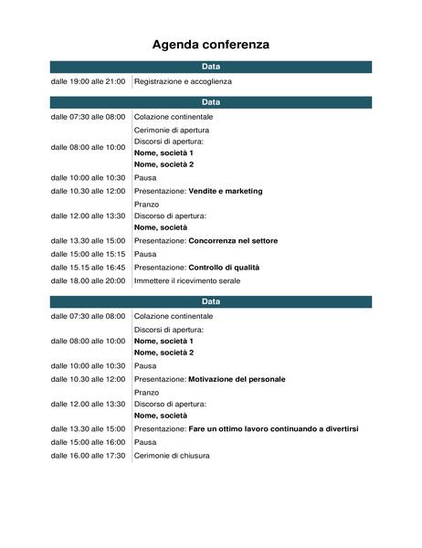Agenda conferenza
