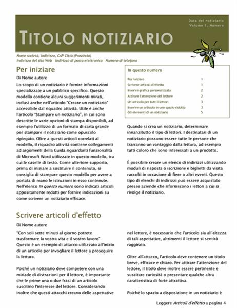 Notiziario aziendale (2 colonne, 6 pagine, busta)
