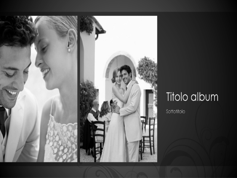 Album matrimonio, tema barocco in bianco e nero (widescreen)