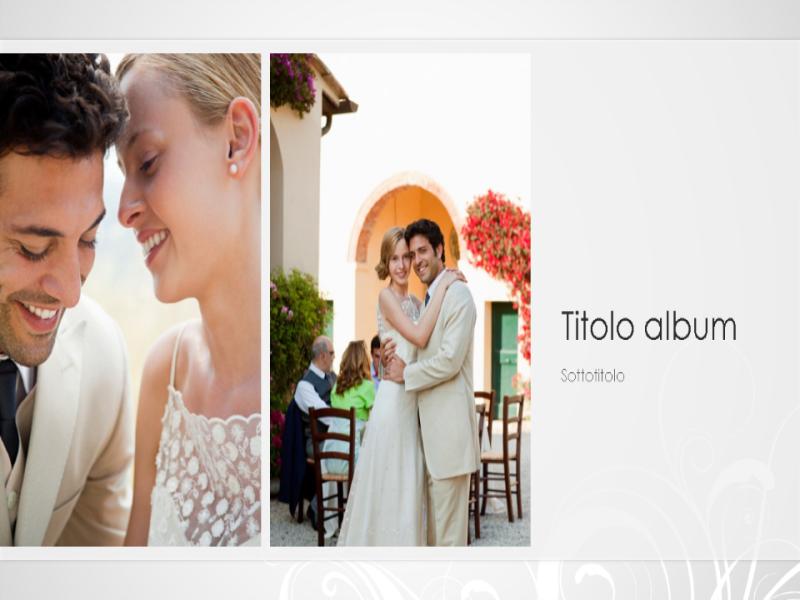 Album fotografico Matrimonio, design barocco argento (widescreen)