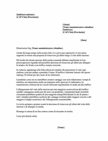 Lettera di sostegno per pubblico amministratore