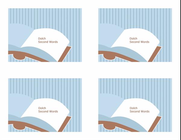 Cartoline didattiche per l'insegnamento della lingua inglese (Dolch Second Sight Words; lato posteriore; adatte ad Avery 3263, 8387)