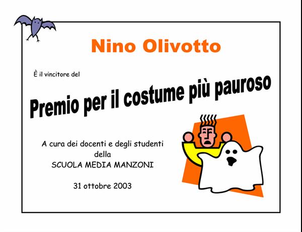 Premio per il migliore costume di Halloween