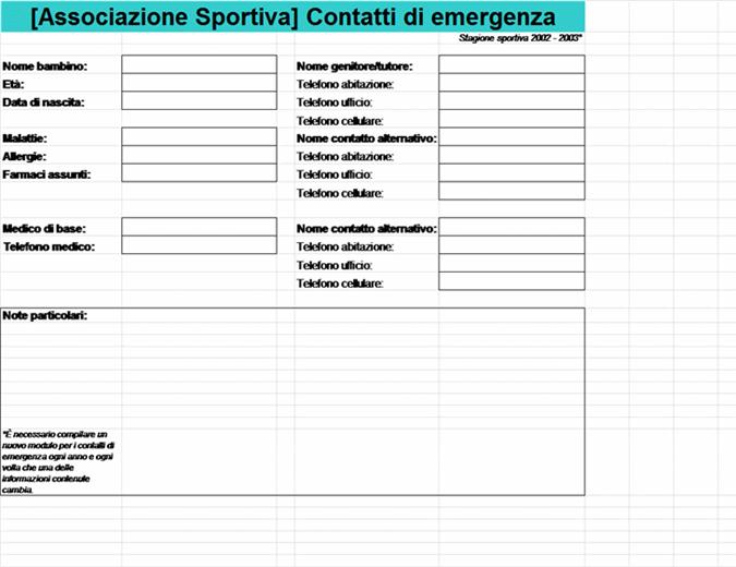 Elenco contatti di emergenza società sportiva