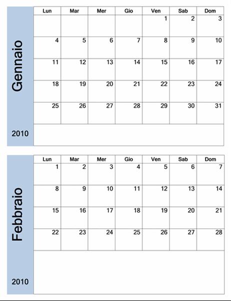Calendario 2010 con bordo blu (6 pp., lun-dom)