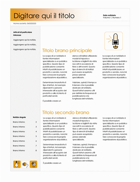 Notiziario (tema accessorio, 4 colonne)