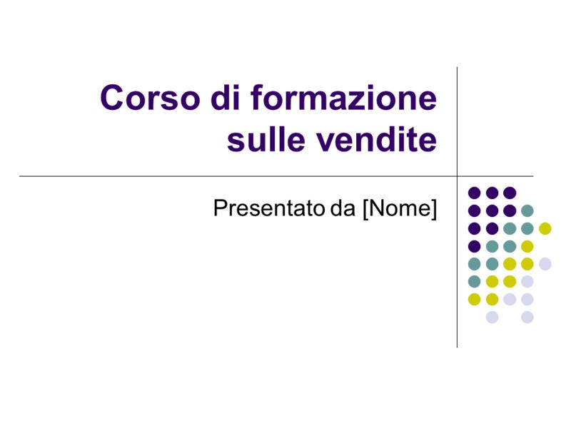 Diapositive corso di formazione sulle vendite