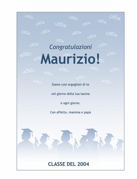 Volantino di congratulazioni per laurea