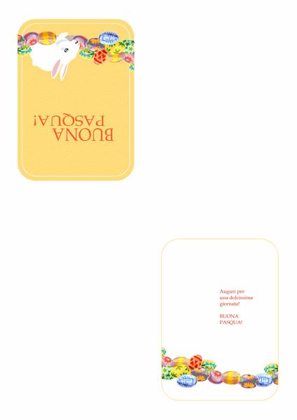 Biglietto di Buona Pasqua con coniglietto e uova