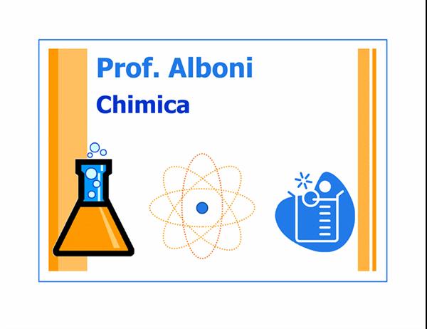 Cartello dell'aula di chimica