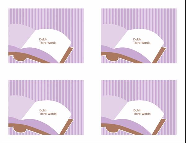 Cartoline didattiche per l'insegnamento della lingua inglese (Dolch Third Sight Words; lato posteriore; adatte ad Avery 3263, 8387)