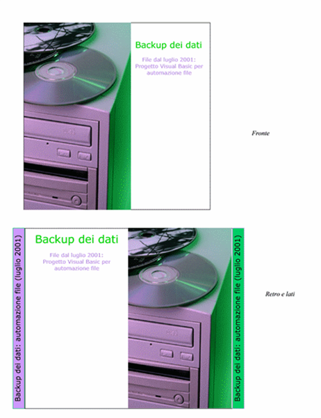 Copertine per CD di backup dei dati