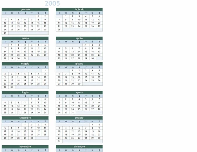 Calendario annuale 2005-2014 (lun-dom)