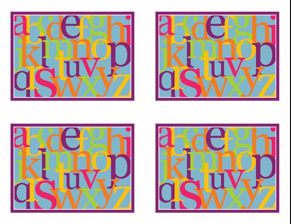 Cartoline didattiche con lettere dell'alfabeto (lato posteriore; adatte ad Avery 3263, 8387)