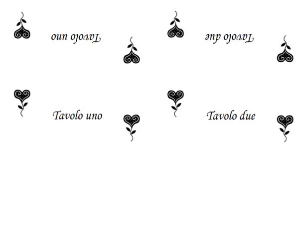 Segnaposto Matrimonio Word.Segnaposto Con Numero Di Tavolo