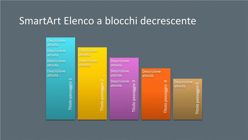 Diapositiva SmartArt Elenco a blocchi decrescente (multicolore su grigio), widescreen