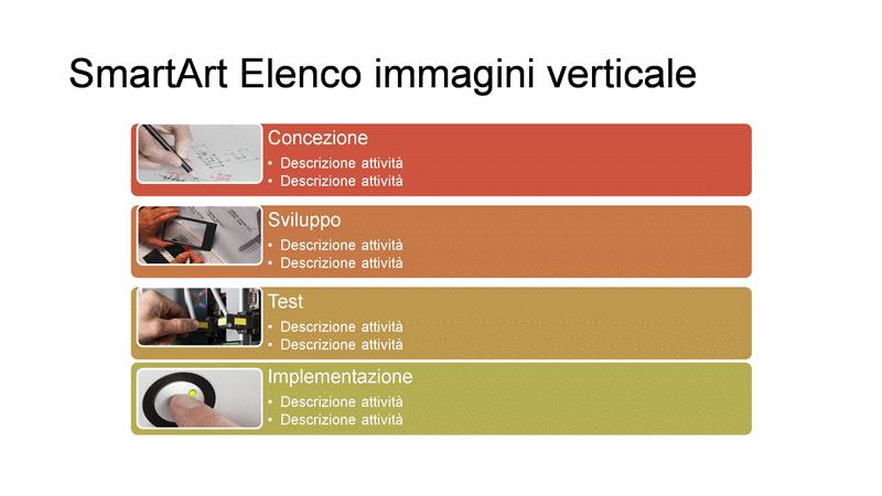 Diapositiva SmartArt Elenco immagini verticale (multicolore su bianco), widescreen