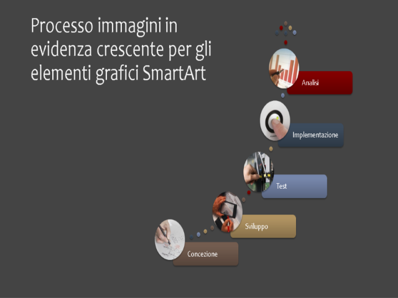 Processo immagini in evidenza crescente per gli elementi grafici SmartArt (multicolore su grigio), widescreen