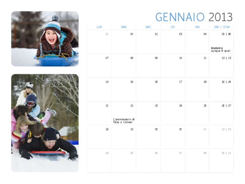 Calendario con foto 2013 (Lun-Sab/Dom)