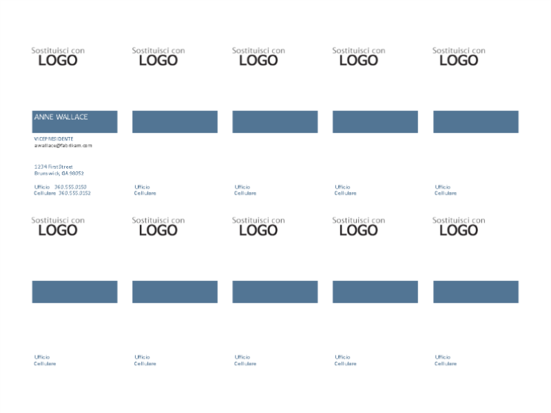 Biglietti da visita, layout verticale con logo, allineamento del testo a sinistra