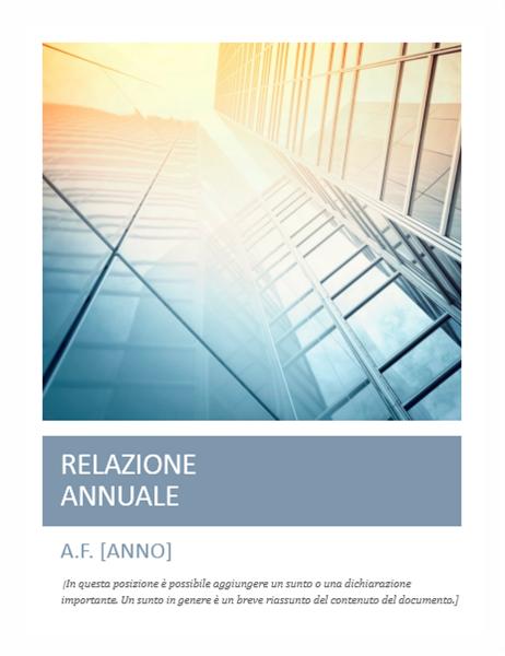 Relazione annuale (con fotografia in copertina)