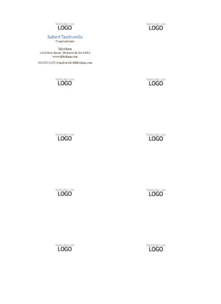 Biglietti da visita, layout orizzontale con logo, nome con iniziale maiuscola