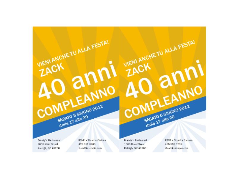Extrêmement Invito per compleanno (raggi blu su oro) - Office Templates HA06