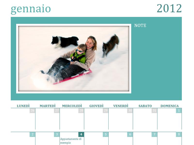 Calendario di foto di famiglia (lun)