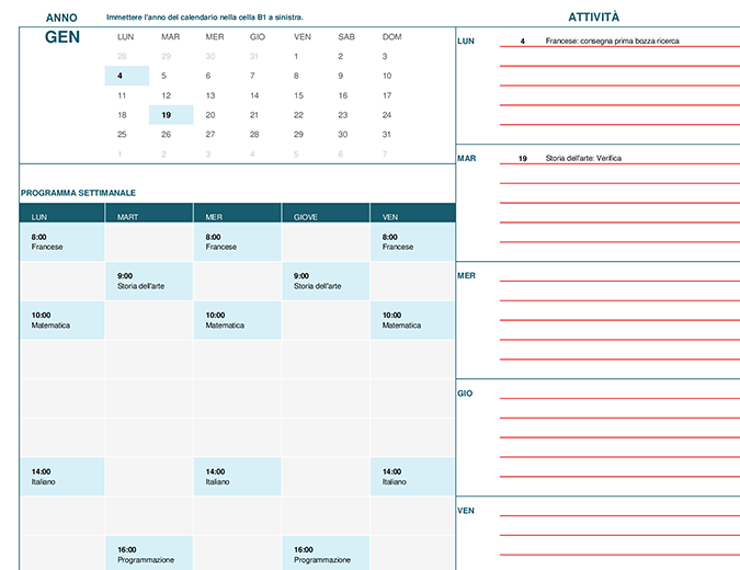 Calendario dello studente (lun)