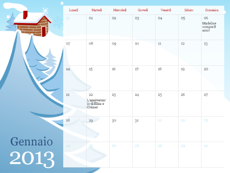 Calendario stagionale illustrato 2013, lun-dom