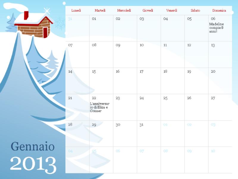 Calendario stagionale illustrato 2013, lun-dom