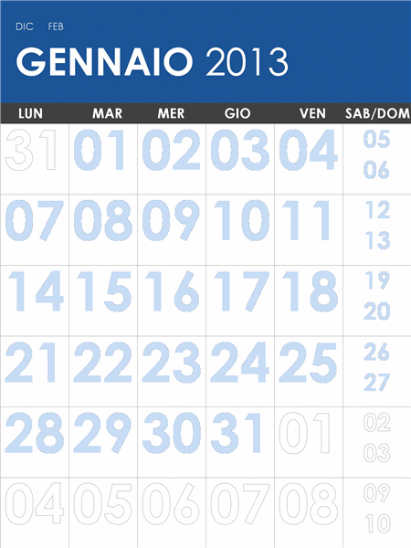 Calendario 2013-2014  multicolore (L-Dom)