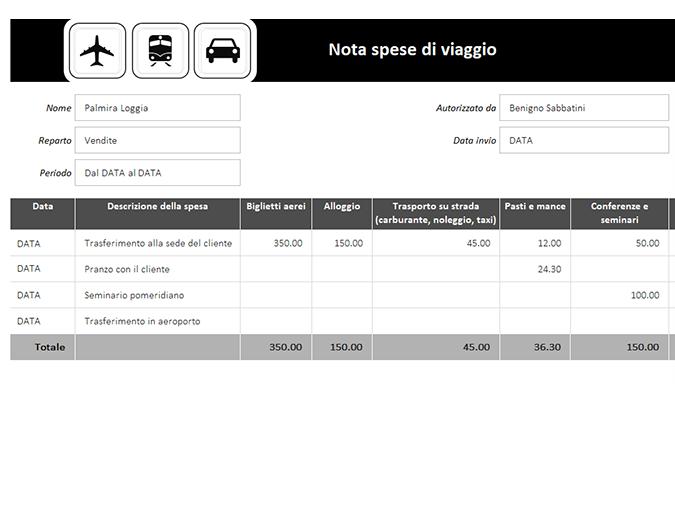 Nota spese di viaggio