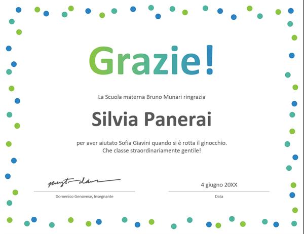 Certificato di ringraziamento